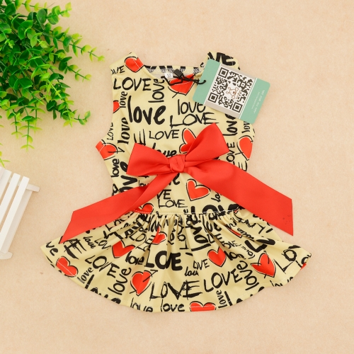 CuteBone Stylish Dog Dress with Elegant Ribbon Doggie Sundress Pet Clothes Dog's Sweet Dresses Skirt Dog Apparel